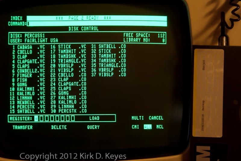 DISK LABEL: PERCUSSION Backup 840328, DISK: PERCUSS1, USER: FAIRLIGHT USA