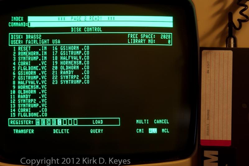 DISK LABEL: BRASS II Backup 840327, DISK: BRASS2, USER: FAIRLIGHT USA