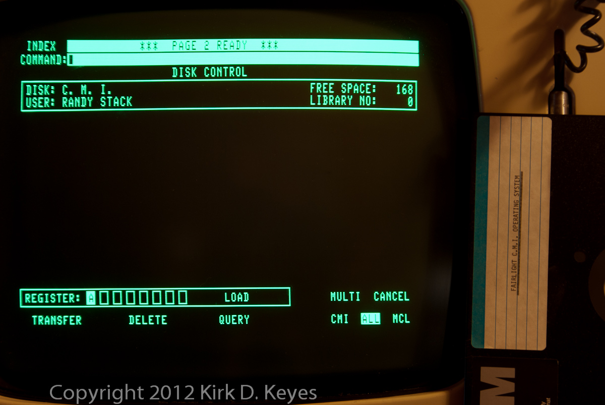 DISK LABEL: FAIRLIGHT C.M.I. OPERATING SYSTEM, DISK: C. M. I., USER: RANDY STACK