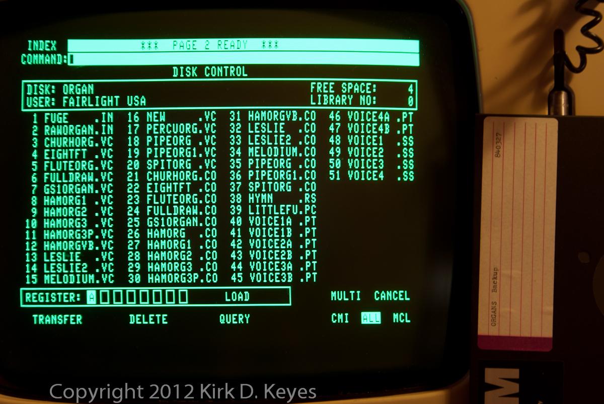 DISK LABEL: ORGANS Backup 840327, DISK: ORGAN, USER: FAIRLIGHT USA