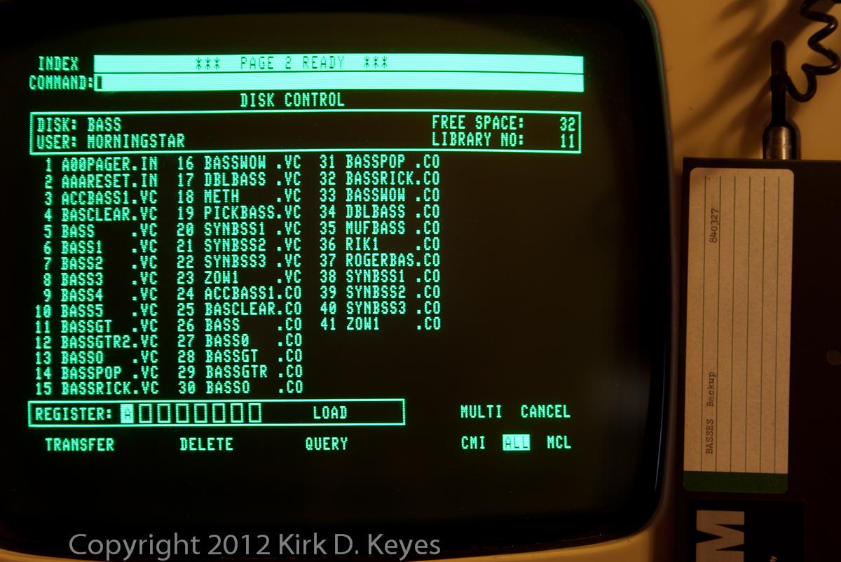 DISK LABEL: BASSES Backup 840327, DISK: BASS, USER: MORNINGSTAR