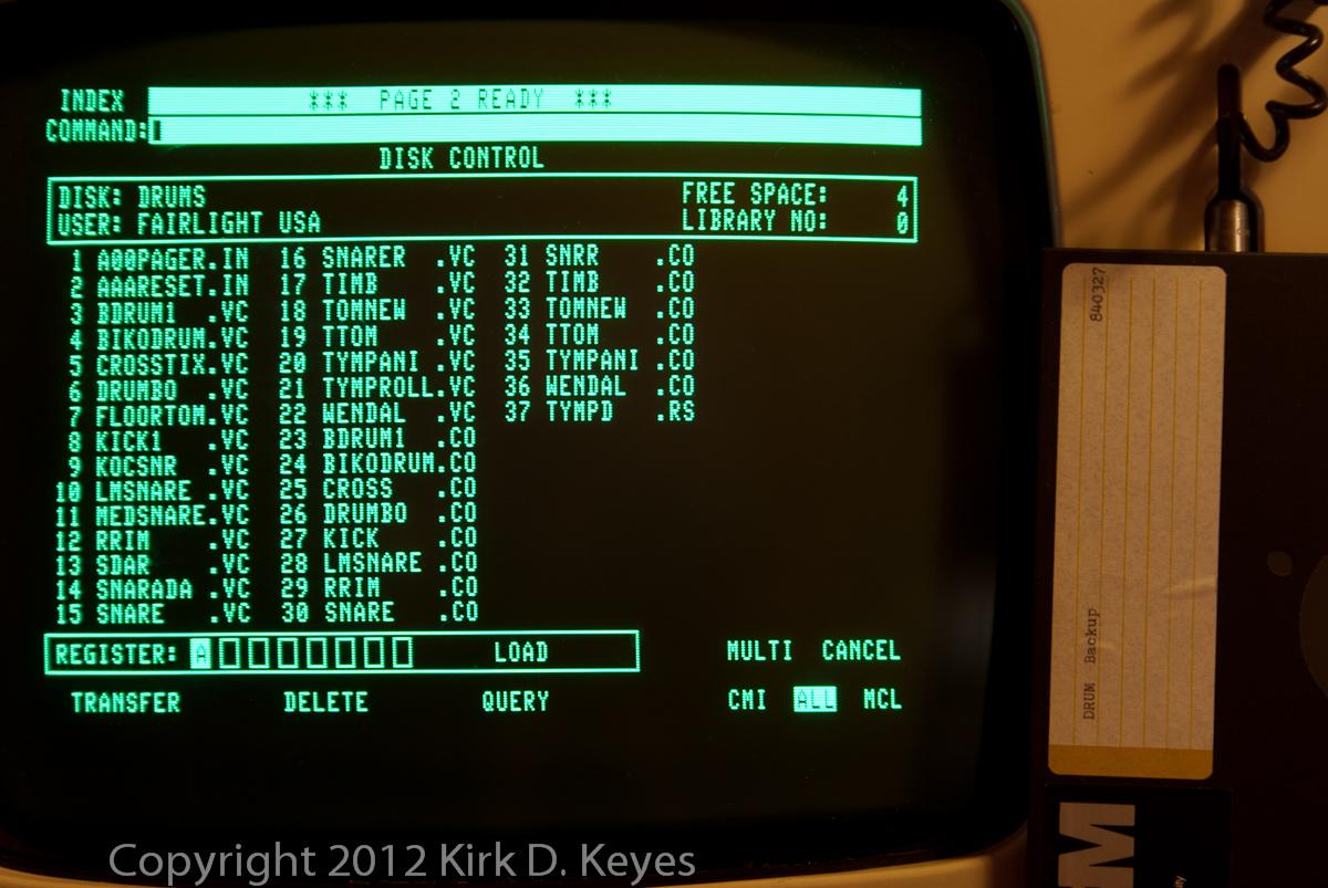 DISK LABEL: DRUM Backup 840327, DISK: DRUMS, USER: FAIRLIGHT USA