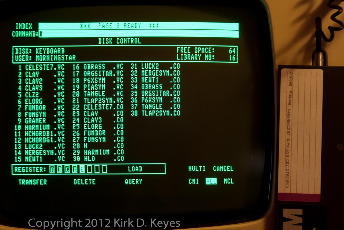 DISK LABEL: Electric and Keyboard Instruments Backup 840327, DISK: KEYBOARD, USER: MORNINGSTAR