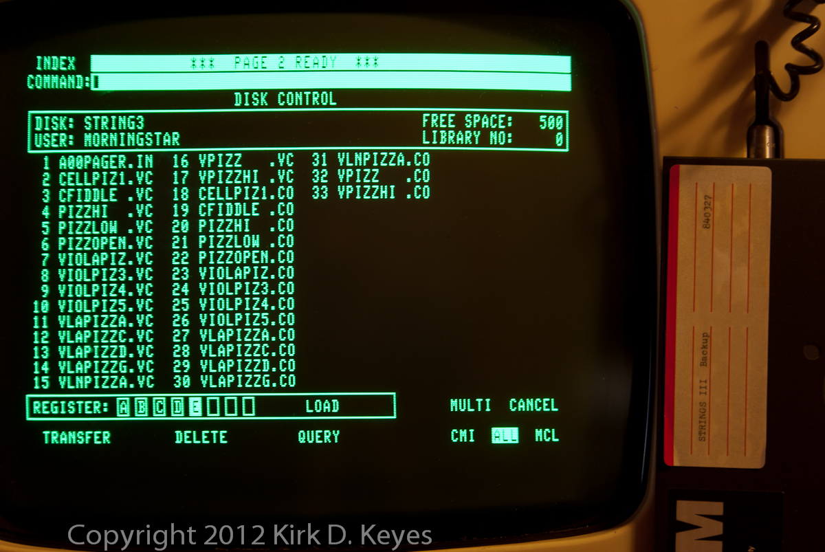 DISK LABEL: STRINGS III Backup 840327, DISK: STRING3, USER: MORNINGSTAR