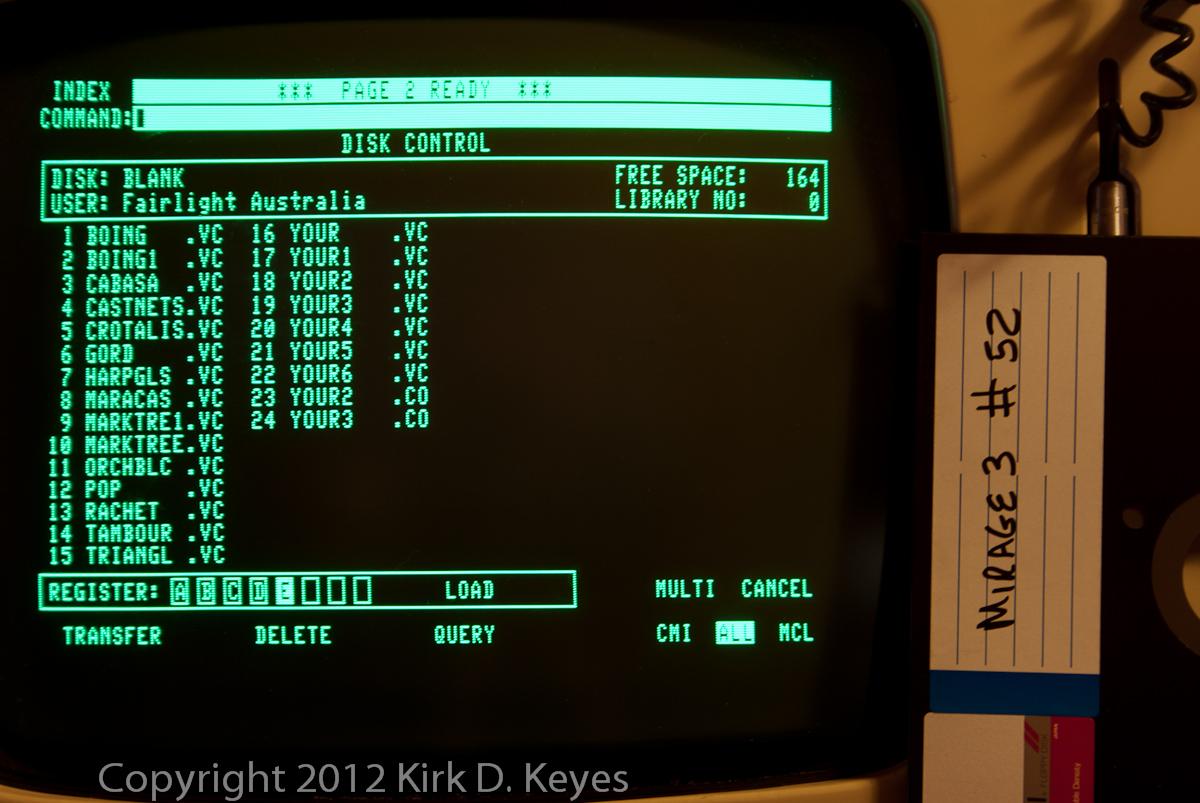 DISK LABEL: Mirage3 #52, DISK: (Blank), USER: Fairlight Australia